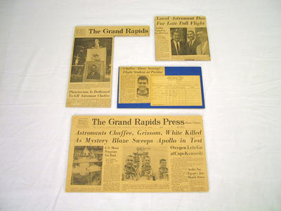 Newspaper Clippings, 4, On Mat Board, Roger B. Chaffee Archive Collection #6
