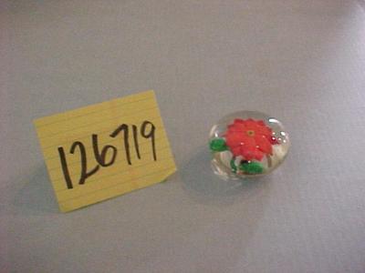 Glass Paperweight, Orange Flower