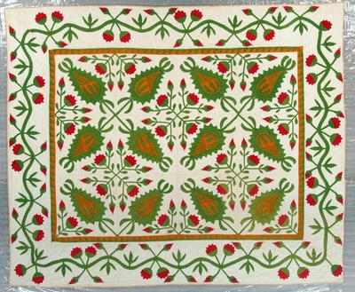 Appliqued And Pieced Quilt, Pineapple And Roses Pattern