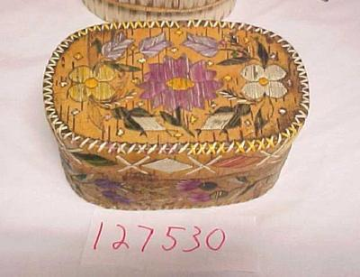 Oval, Lidded Birch Bark And Quill Box