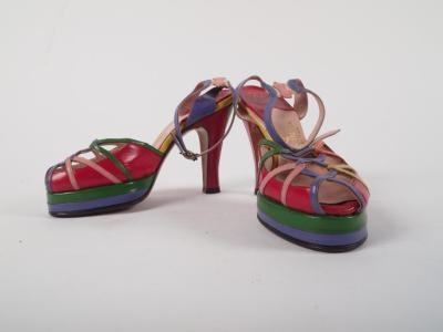 Shoes, Woman's Multi-colored Strappy Sandals