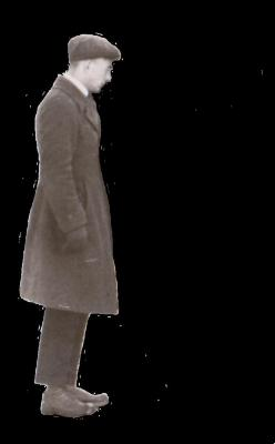 Man in coat looking right (profile)