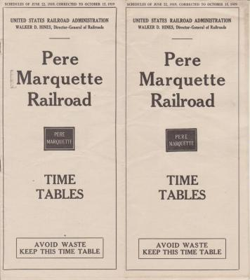 Time Table And Map, Pere Marquette Railroad