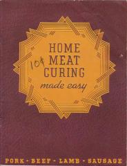 Booklet, 'home Meat Curing Made Easy'