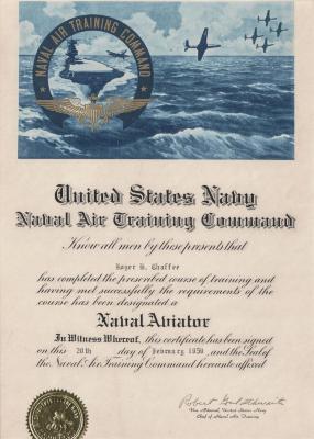 Certificate, U.S. Navy Naval Air Training Command