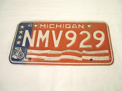 License Plate, State Of Michigan, 1976, Plate Number, Nmv 929, Bi-centennial