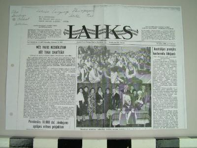 Reproduction Of 'laiks' Latvian-language Newspaper, Archival Collection #136