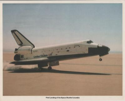 Photograph of the first space shuttle landing