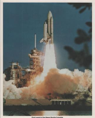 Photograph of the first space shuttle lift off