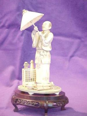 Carved Figure, Man Opening Parasol, With Carved Stand (2 Pcs.)