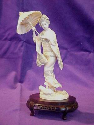 Carved Figure, Woman In Kimono With Parasol, On Carved Stand (2  Pcs.)