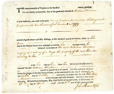 Court Document Or Legal Document, John Crew, Slaveholder Vs William Christian, May  20, 1786