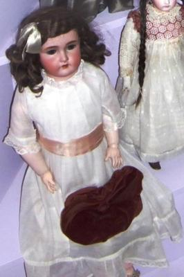 Doll, Female Bisque Head And Leather Body