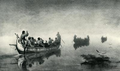 "Art Print, ""Canoes in a Fog, Lake Superior"""