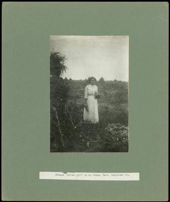 Photograph, Ottawa Indian Girl On An Omena Farm, Leelanau Co.