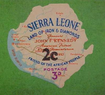 Stamp Shaped Like African Country Of Sierra Leone