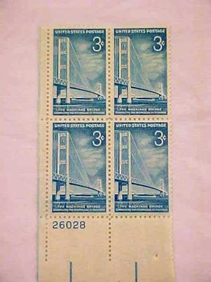 Plate Block, Stamps, Mackinac Bridge