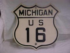 Highway Sign, Michigan U.S. Route 16