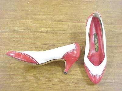 Pair Red And White Spectator Shoes