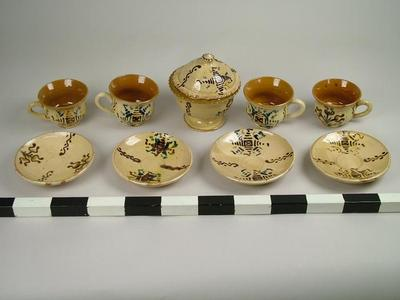 Tea Set, Cups And Saucers With Sugar Bowl