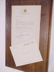Letter On Plaque, From President Ford To Vivian Kellogg, Aagpbl Player, All-american Girls Baseball League Archival Collection #66