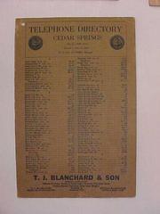 1928 Telephone Directory, Cedar Springs, Michigan