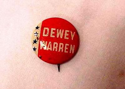 Political Campaign Button Dewey/Warren