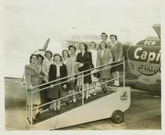 Photograph, Grand Rapids Chicks Boarding Plane, All-American Girls Baseball League Archival Collection #66