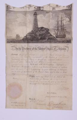 Document, Mediterranean Passport or Sea Letter For the American Ship, Anna
