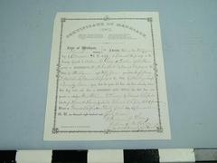 Certificate, Marriage Of John Ball And Mary Webster