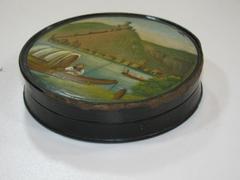 Snuff Box, Round, Rhine River Painted Scene