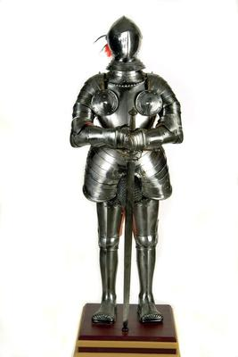 Suit Of Armor With Chain Mail And Sword