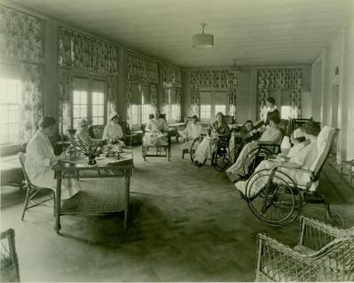 Photograph, People In Wheelchairs Drinking Tea