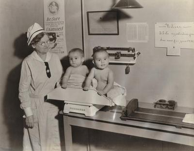 Photograph, Two Babies On A Scale