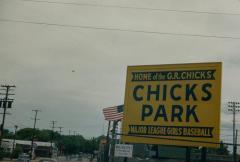 "Slide, Sign of ""Chicks Park"", All-American Girls Professional Baseball League"