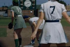 Slide,  Dorice Reid at First Base, All-American Girls Professional Baseball