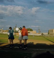 Slide, Helen Earlene Risinger and Marilyn Olinger at First Base,  All-American Girls Professional Baseball
