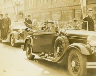 Photograph, President Franklin D.  Roosevelt and Mrs. Roosevelt in Motorcade in Grand Rapids, MI