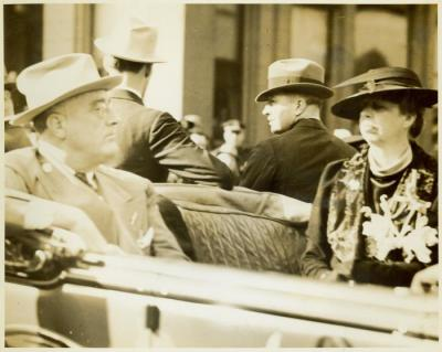 Photograph, President Franklin D. Roosevelt and First Lady Eleanor Roosevelt during a Presidential Campaign stop in Grand Rapids, MI