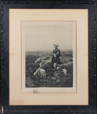 Print, Etching, 'shepherdess With Flock Of Sheep.'