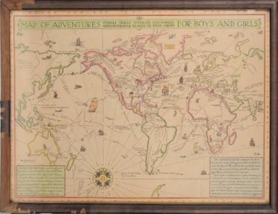 Print, Map of adventures for boys and girls : stories, trails, voyages, discoveries, explorations & places to read about.