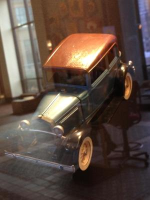 Toy Car, Brown Hood And Metallic Blue Body