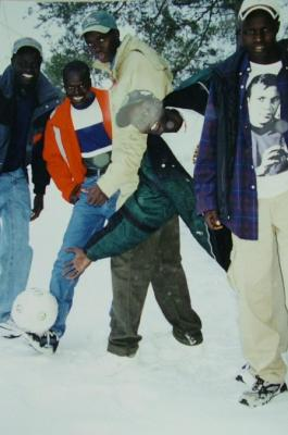 Photograph, Sudanese, Lost Boys, Standing In Snow With A Soccer Ball, Sudanese Immigration Archival Collection #137