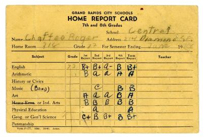 Card, Report Card Of Roger Chaffee In The 7th Grade At Central  High School