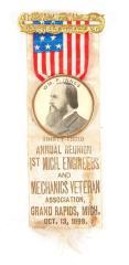 Ribbon Badge, 1st Michigan Engineers and Mechanics Veteran Association