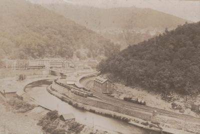 Photograph, Birds-Eye View of Buildings and Railroad along the Lehigh River in Summit Hill, PA