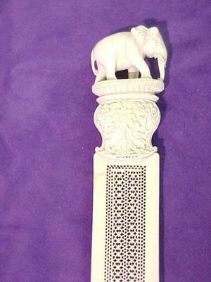 Carved Ivory Dagger With Pierce Carving And Elephant Handle