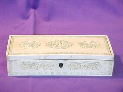 Ivory Box With Hinged Lid, Carved Medallions And Border