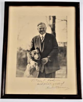 Signed, Inscribed Photograph, Herbert Hoover Posed with his dog King Tut